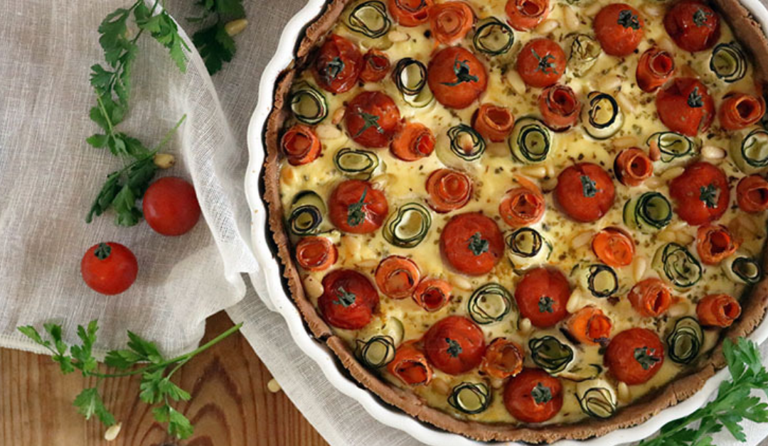 Quiche met wortel-courgette roosjes