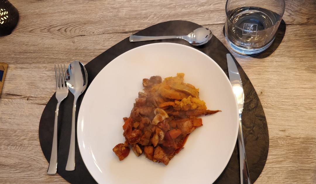 Kip stoofgerecht met zoete aardappel frieten