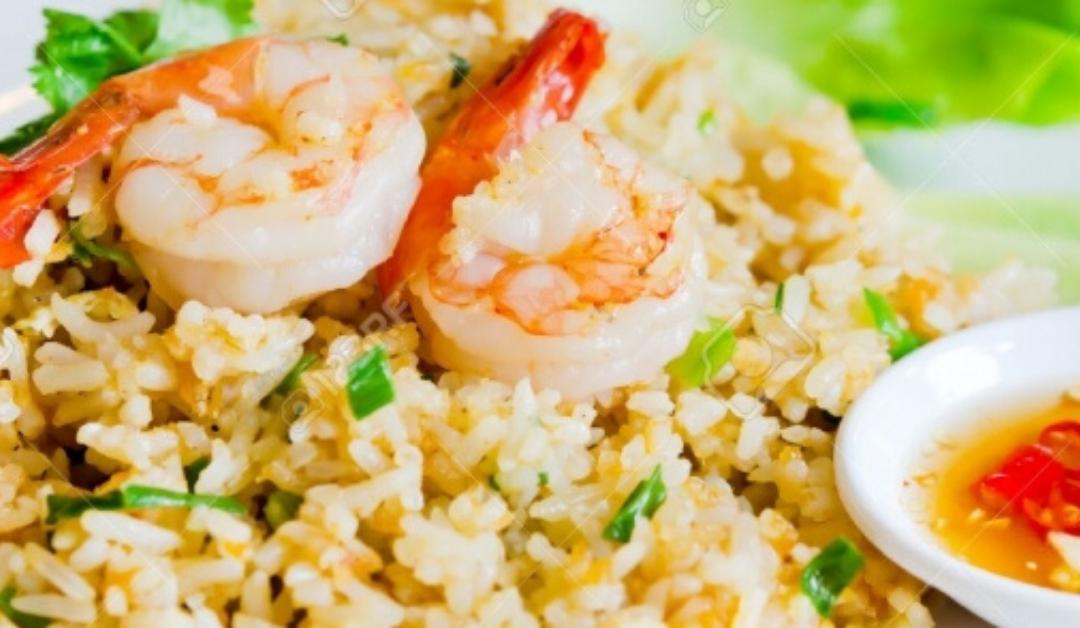 Garnalen met gebakken rijst
